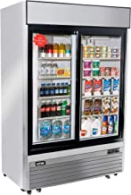 Commercial Display Beverage Refrigerator with 2 Sliding Glass Door, KITMA Merchandiser Cooler 46 Cu. Ft.