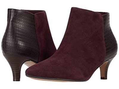 Clarks Linvale Sea (Burgundy Suede/Croc Synthetic Combination) Women