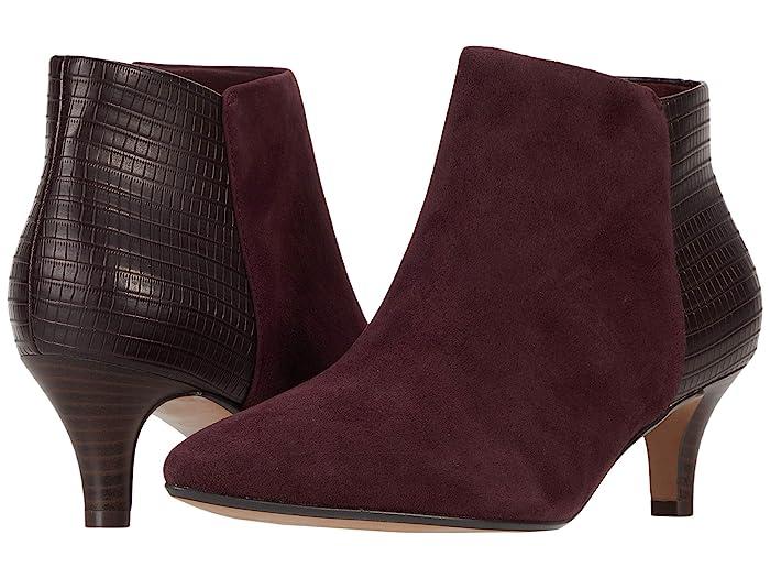 Clarks Linvale Sea (Burgundy Suede/Croc Synthetic Combination) Women's  Shoes