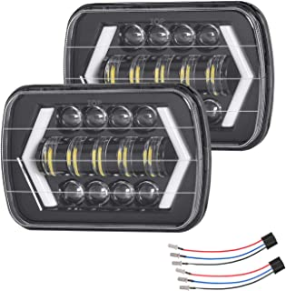 Zmoon 5x7in Led Headlight for Jeep 220W 7x6in Square Headlight with High/Low Sealed Beam for H6054 6053 6052 5054, DRL/Turn Signal Headlight for Jeep Wrangler YJ XJ MJ Cherokee Chevy (2 Packs)