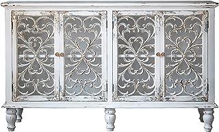 MKMKT Armoire de Rangement, Armoire d'entrée rétro, Armoire sculptée de Porte en Verre en Bois Massif, Armoire de décorati...