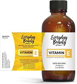Vitamin E Oil - 100% Pure & Natural 2oz 47,500 IU - Unscented, Not a Blend, Derived From Wheat Germ - Reduce Wrinkles, Ant...