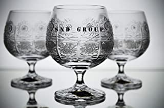Czech Bohemian Crystal Glass Set of 6 Snifter Glasses 8oz./250ml. Elegant Hand Cut Vintage Lace Design Classic Stem Goblets Cognac Brandy Armagnac Calvados Whiskey Handmade in Czech Republic