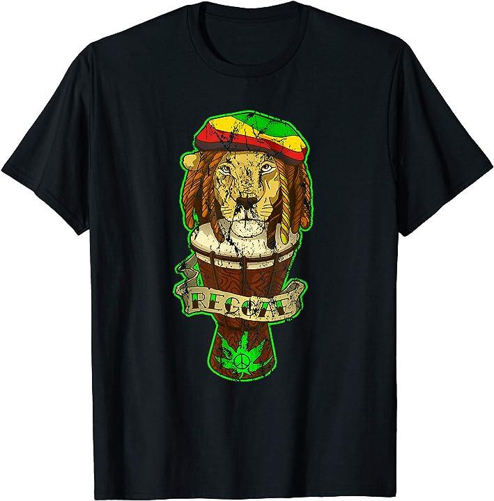 Reggae Clothing Men Women Rasta Lion Rastafarian Tee