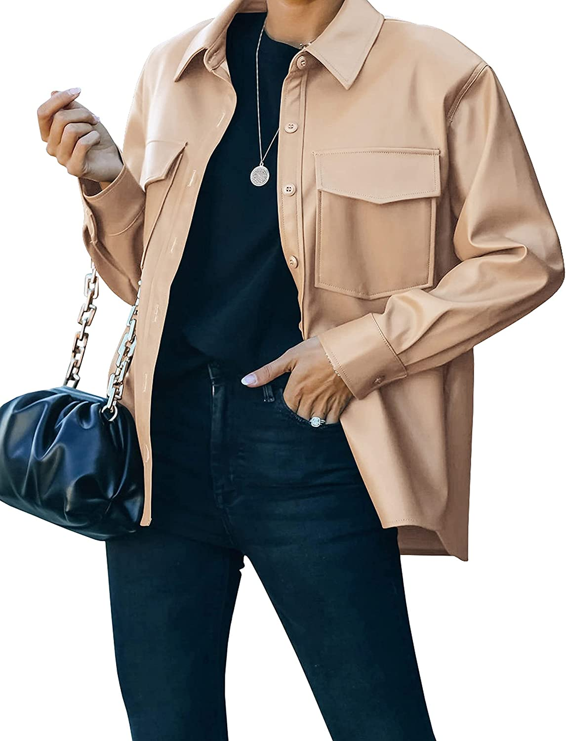 Lentta Women's Faux Leather Shacket Jacket Button Front Straight Pocketed Casual Jacket Coat
