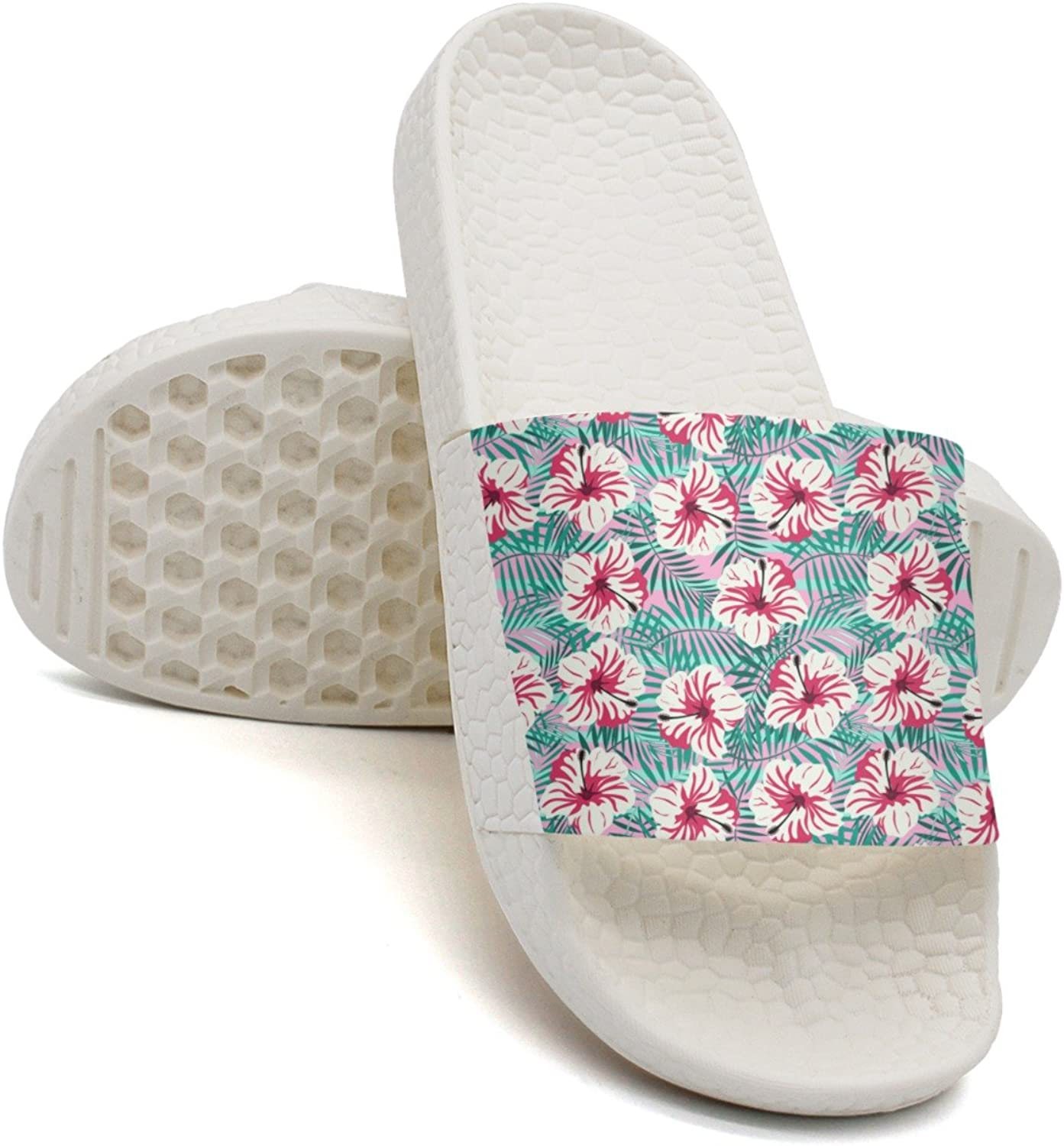 Qiopw rtw Bathroom Shower Non-Slip Sandal Rtopical Pattern On Pink Indoor Slipper shoes for Womens Ladies
