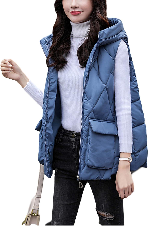 Lentta Women's Versatile Basic Baggy Hooded Sleeveless Quilted Puffer Gilet Vest Jacket
