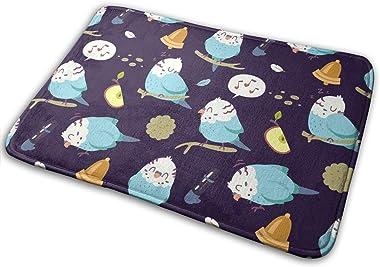 Cartoon Budgie Parrot Carpet Non-Slip Welcome Front Doormat Entryway Carpet Washable Outdoor Indoor Mat Room Rug 15.7 X 23.6