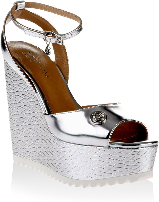 Armani Jeans Damen Sandalia Metalizada Silberforma Keil Sandalette, Silber 38 EU
