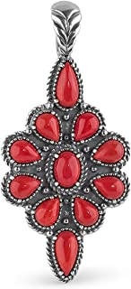 American West Sterling Silver Sleeping Beauty Turquoise or Red Coral Gemstone Cluster Pendant Enhancer