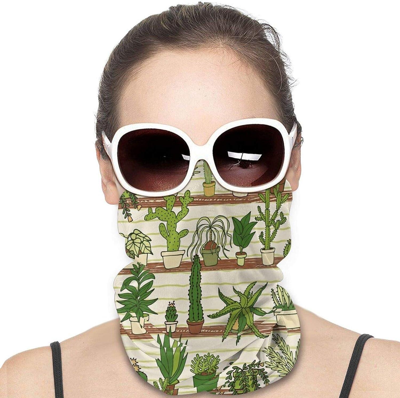Tropical Desert Succulent Neck Gaiter Windproof Face Cover Balaclava Outdoors Magic Scarf Headband for Men Women Motorcycling Fishing Running Climbing