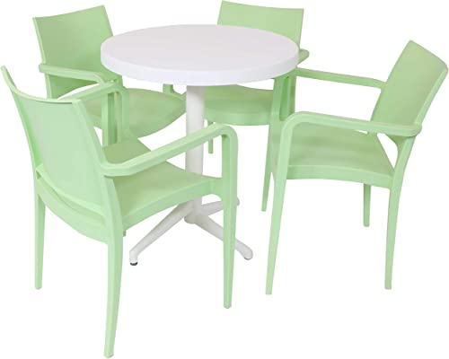 wholesale Sunnydaze All-Weather Landon Outdoor 5-Piece Patio Furniture Dining Set - outlet online sale Includes Round Table with Folding Top and 4 Armchairs - Commercial Grade Indoor/Outdoor Use - high quality Light Green Chairs/White Table sale
