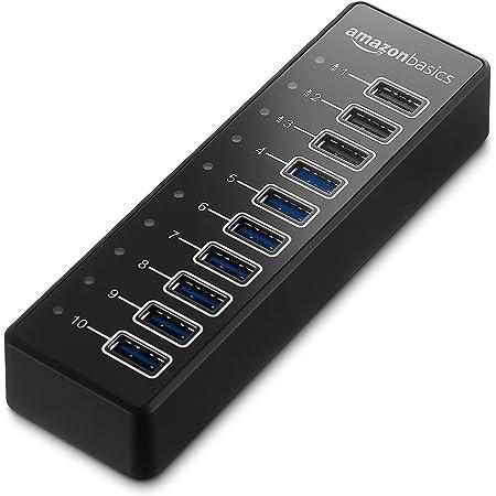 Amazon Basics - Hub de 10 puertos USB C 3.1 con adaptador de corriente, 65 W (20 V/3,25 A), Negro