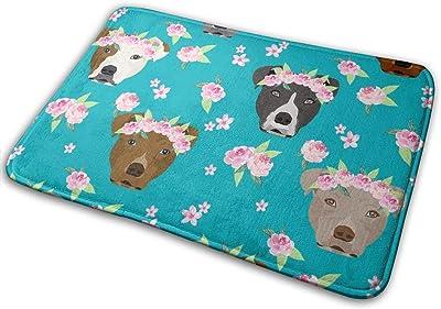 "Pitbull Flower Crown - Dog Flower, Dogs Floral, Pitbull - Teal_27602 Doormat Entrance Mat Floor Mat Rug Indoor/Outdoor/Front Door/Bathroom Mats Rubber Non Slip 23.6"" X 15.8"""