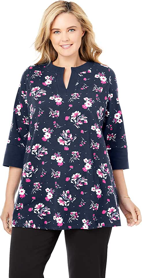 Woman Within Women's Plus Size Everywear Essentials Banded Neck Tunic