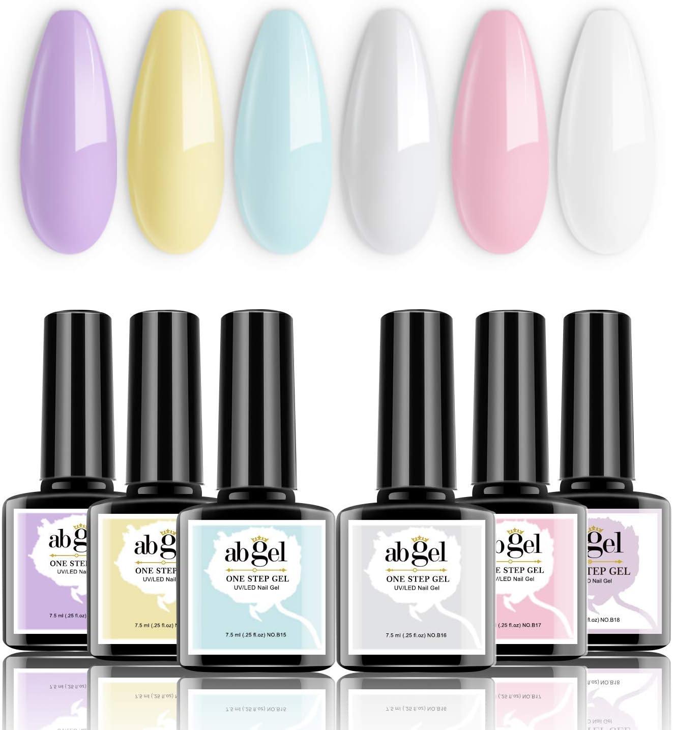 Conjunto de esmalte de uñas de gel de un paso de un paso de un paso - Macarron Series 6 Colores Pastel Purple Pink Blue Gel Kit de esmalte de uñas