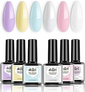Conjunto de esmalte de uñas de gel de un paso de un paso de un paso - Macarron Series 6 Colores Pastel Purple Pink Blue Ge...