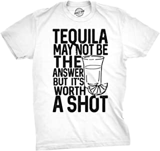 Mens Tequila Not The Answer Worth a Shot Funny T Shirts Hilarious Cinco De Mayo T Shirt