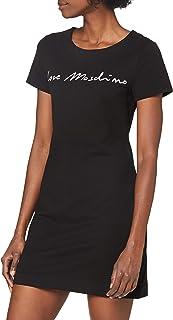Love Moschino Short Sleeve Fleece Dress_Italic Font Logo Abito Casual. Donna