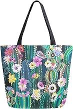 Mnsruu Handtasche aus Segeltuch, für Damen, mit Griff, Einkaufstasche, Kaktus-Tasche, Freizeittasche, Strandtasche, multifunktional, für Damen