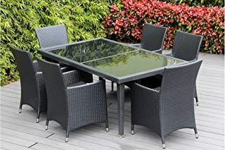 Ohana Collection pn7005-6gr Ohana Wicker Furniture Outdoor Dining Set with Free Patio Cover (Gray)