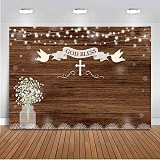 Mocsicka Baptism Backdrop 7x5ft Rustic Wood First Holy Communion Photo Backdrops God Bless Mason Jars Christening Baby Shower Party Banner Photography Background