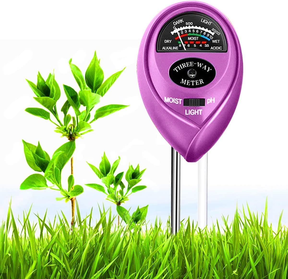 Soil Moisture Sensor Meter, 3-in-1 Soil pH Meter Tool Kits with PH/Light/Moisture Tester for Plant Care, Digital Plant Thermometer, Water Monitor for Garden, Farm, Indoor & Outdoor (No Battery Needed)