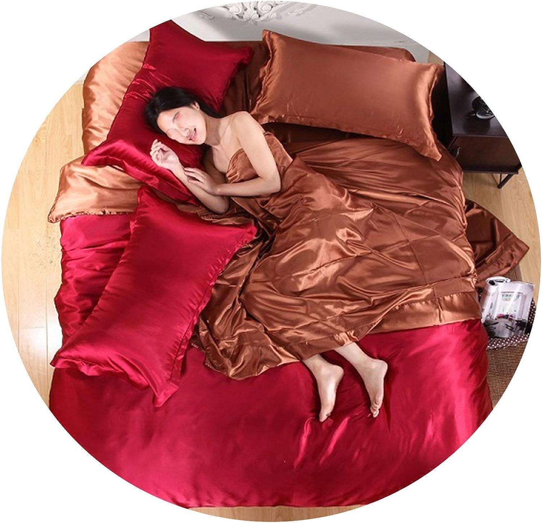 Pure Satin Silk Bedding Set,Home Textile King Size,Duvet Cover Flat Sheet Pillowcases,Light Yellow,Queen 4pcs