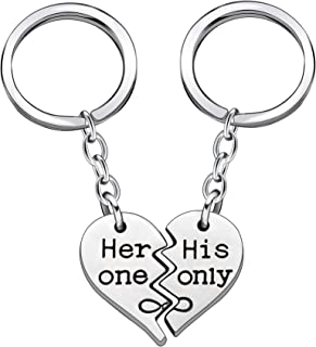 2pcs Couple Key Chain Ring Set Broken Heart Gift for Husband Wife Boyfriend Girlfriend - Her one His Only