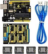 KEYESTUDIO CNC Kit/ ATmega328 Control Board R3 for Arduino +CNC Shield V3.0 +4pcs A4988 Stepper Motor Driver + USB Cable/GRBL Compatible