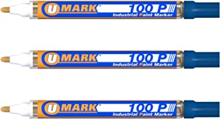 3 Pack - Blue Valve Action Metal Paint Marker U-Mark, Made In USA