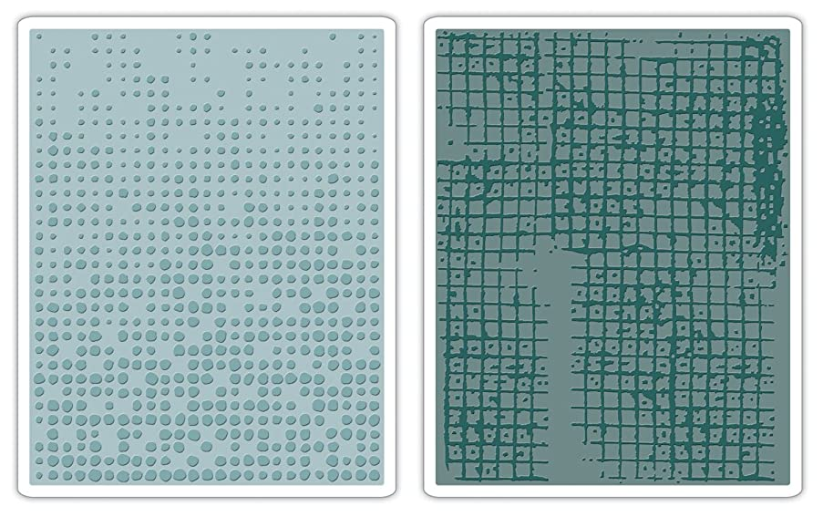 Sizzix 656649 Texture Fades Embossing Folders, Dot-Matrix & Gridlock Set by Tim Holtz, Pack of 2, Multicolor
