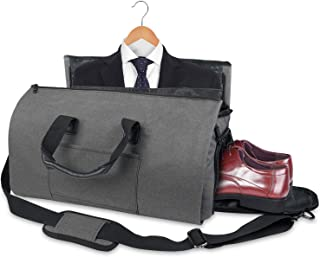 Mephice Business Travel Duffle Bag, Convertible Travel Garment Bag for Men and Women, Carry on Garment Bag with Hanging, Oversized Zip Flight Bag (Gray) Grey
