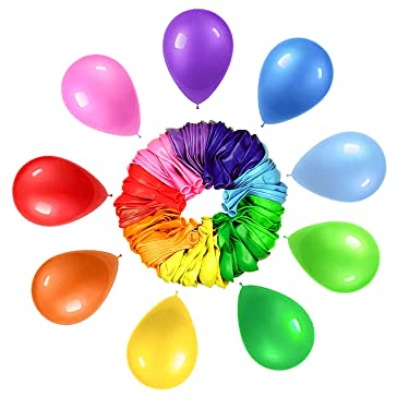 LIVINO Rainbow Balloons - 12 Inches Latex Balloons - Colorful Balloons, Perfect for Rainbow Birthday Party Decorations, Balloons for Birthday, Helium Balloons Bulk Pack of 100