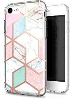 JAHOLAN Actual Glitter Sparkle 3D Design Marble Clear Bumper Hybrid Cushion Scratch Resistant Shockproof Hard Back Cover Phone Case Compatible with iPhone 7 iPhone 8 iPhone 6 iPhone 6S