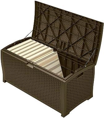 Patio Storage Container Waterproof Outdoor Deck Wicker Box Organizer Woven Pattern Patio Deck Contemporary Patio Bench Pool E