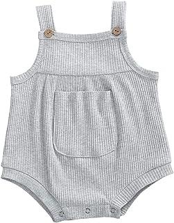 الرضع قطن صلب مضلع رومبير قمة طفل الفتيات شرائط بلا أكمام أزرار الكتف حللا (Color : Gray, Kid Size : 24M)