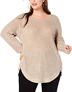 I.N.C. International Concepts INC Womens Waffle Knit Size-Zip Pullover Sweater Tan 3X