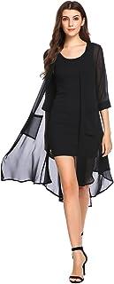 Zeagoo Women 3/4 Sleeve Split Back Sheer Chiffon Maxi Kimono Long Cover Up Blouse