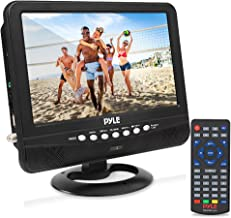 9 Inch Portable Widescreen TV - Smart Rechargeable Battery Wireless Car Digital Video Tuner, 800x480p TFT LCD Monitor Screen w/ Dual Stereo Speakers, USB, Antenna, Remote, RCA Cable - Pyle PLTV9553