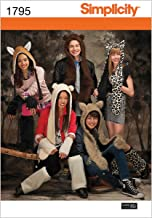 Simplicity 1795 Teen's, Men's and Women's Animal Hat Sewing Patterns, Sizes S-L