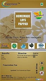 Neotea Homemade Dried Papad/Pappad/Papadum/Appalam 250g (Garlic Papad)