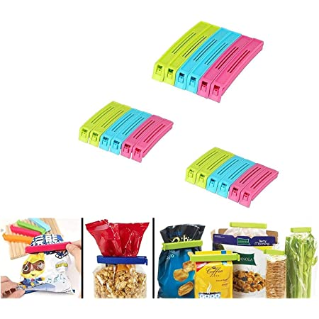 ZooY 18 Pcs Plastic Food Snack Bag Pouch Clip Sealer for Keeping Food Fresh for Home Kitchen Camping Snack Seal Sealing Bag Clips (Multi Color) | Pouch Clip Sealer (Set of 18, Multicolor)