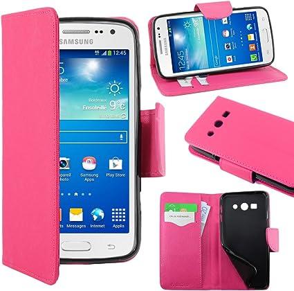 ebestStar - Coque Compatible avec Samsung Galaxy Core 4G SM-G386F Etui PU Cuir Housse Portefeuille Porte-Cartes Support Stand, Rose [Appareil: 132.9 x ...