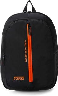 شنطة ظهر يومية للجنسين من فورس - أسود مع سحاب أمامى برتقالى وشعار برتقالى
