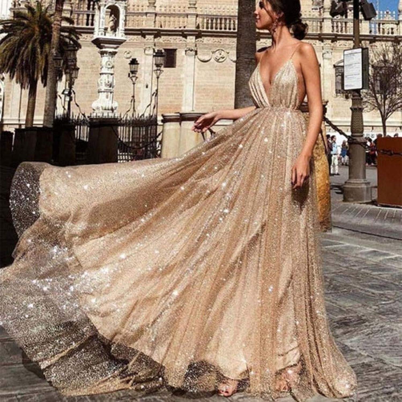 SPFAZJ Women's New Dress Sexy VNeck Sling Sequin Dress Dress