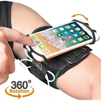 Bovon Fascia da Braccio Sportiva per Qualsiasi Smartphone 4.0-6.5 Pollici, Traspirante Bracciale 360° Rotazione, con Portachiave per Corsa, Jogging, Palestra, Running