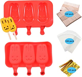 2Pack Popsicle Silicone Molds with Lid Ice Cream Bar Pop Maker BPA Free 3 Cavities with 100 Wooden Sticks (Red Style2)