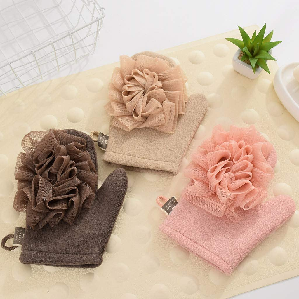 Khaki residentD Household Bath Glove Ball Washing Tools Thickening Massage Shower Towel Bathing Flower Bathing Body