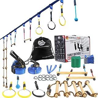 Ninja Line Warrior Obstacle Course for Kids-2×56ft Slackline Kit, Hanging Activities Accessories - Monkey Bar, Rope Ladde...